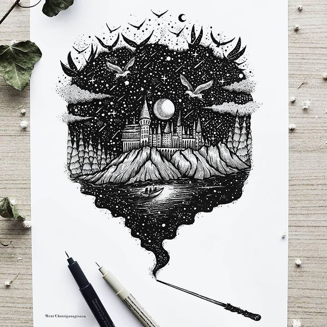 Meni Chatzipanagiotou (@menis_art) grants us this magical view into the #fantasy world of Harry Potter with this #penandink #illustraion of Hogwarts. And when Meni does magical views she really goes for the Golden Snitch. This drawing is magical in its awesome detail and content. It depicts the approach of a small row boat (perhaps carrying Harry and Hagrid?) under pale moon light where the surrounding waters create a second sky with its reflection of the infinite starry cosmos above the…