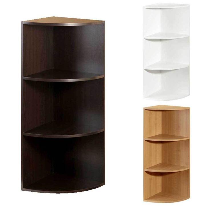 Wood Corner Bookcase Closet Organizer Cloth Rack Storage Furniture System 3Shelf #Unbranded #StorageOrganizer
