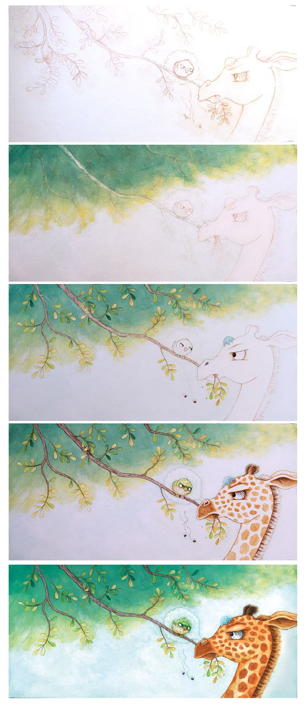 Progression shots from illustration of Giraffe Meets Bird by Rebecca Bender