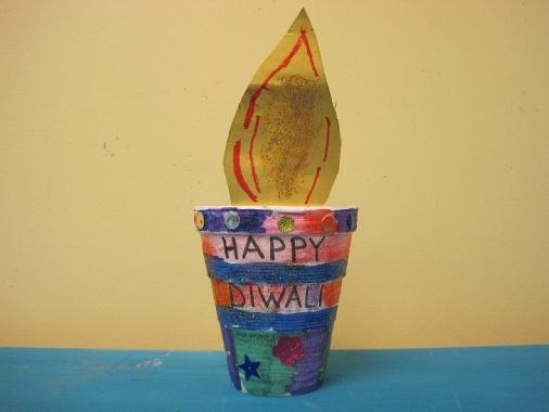 "Diwali diya craft - paper ""flame"" in plant pot"