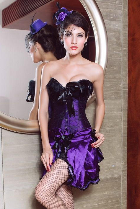 Feather Top Corset With Macthing Skirt