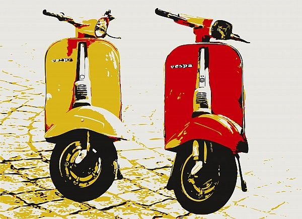 Vespa Scooter Pop Art Canvas Print / Canvas Art by Michael Tompsett