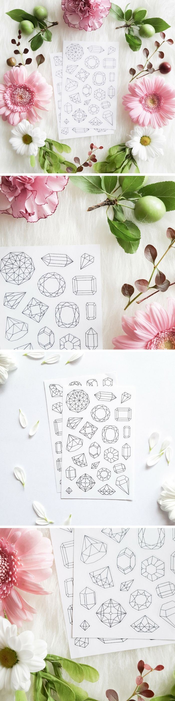 Crystals and Gems Stickers to Color In for DIY Planner Decoration and Paper Crafts