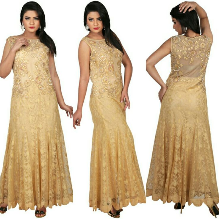 Gold gown with dhaga and pearl embroidery is available now at a fraction of its original cost. #rentyourfashion #rentfromftheramp #myotr #OffTheRamp For more details and designs please visit offtheramp.com or call 8447158533.