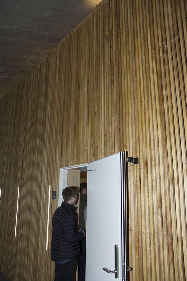 """Smukke askelister og finerede """"fuglenæb"""" (MDF med askefiner) - et projekt for Gammel Hellerup Gymnasium. Hårdttræ og finerede plader forhandlet af Keflico A/S. Foto: Gammel Hellerup Gymnasium."""
