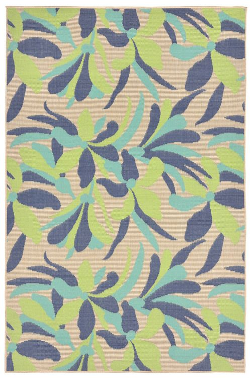 Playa Floral Tropical Area Rug - Cool Blues