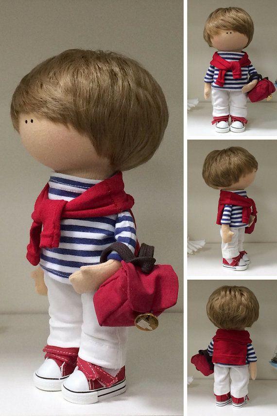 Rag doll Muñecas Boy doll Fabric doll Textile by AnnKirillartPlace