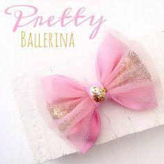 Bailarina rosa tul oro brillo lentejuelas pelo arco por SplendidBee
