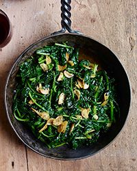 """Sautéed Spinach with Lemon-and-Garlic Olive Oil (Paleo/Whole30, omit chiles for AIP)  and mushrooms for """"unstuffed mushrooms"""" ?"""