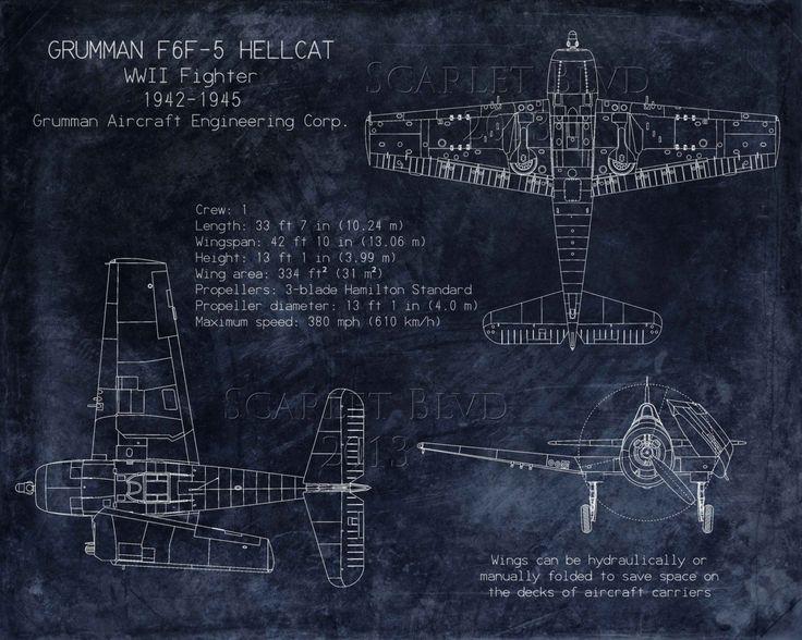 Grumman F6F Hellcat WWII fighter blueprint art 8 x by ScarletBlvd, $25.00
