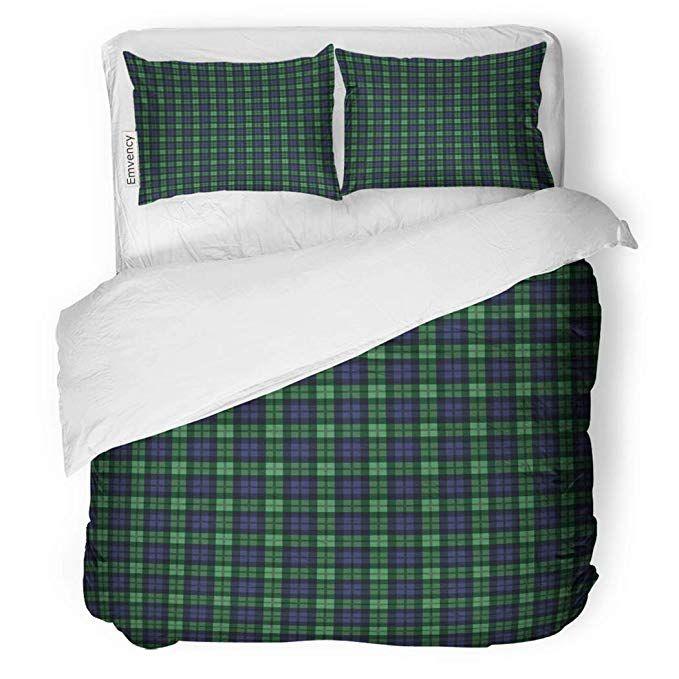 Sanchic Duvet Cover Set Green Plaid Of Tartan Check Pattern Navy Kilt Decorative Bedding Set With Pillow Sham Twi Duvet Cover Sets Purple Duvet Cover Bed Decor