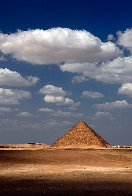 The Red Pyramid @ Dahshur, built by Sneferu.  Visited this one and can assure that the inside of a pyramid doesn't smell good