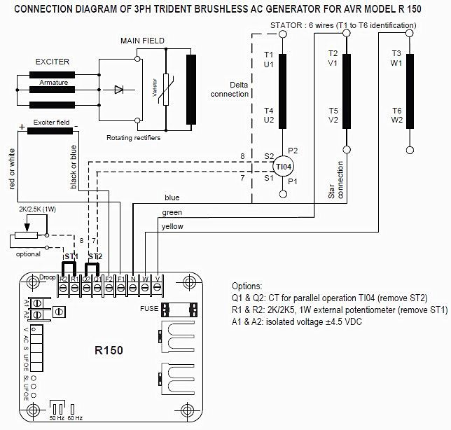 [DVZP_7254]   Leroy-Somer alternator AVR R150 | Alternator, Generation, Delta connection | Brushless Generator Wiring Diagram |  | Pinterest