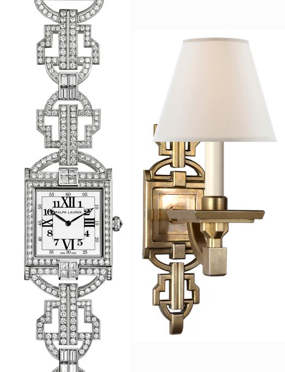 Deco Style, Natural Brass Evanna Sconce Inspired By Ralph Laurenu0027s 867  Diamond Timepiece