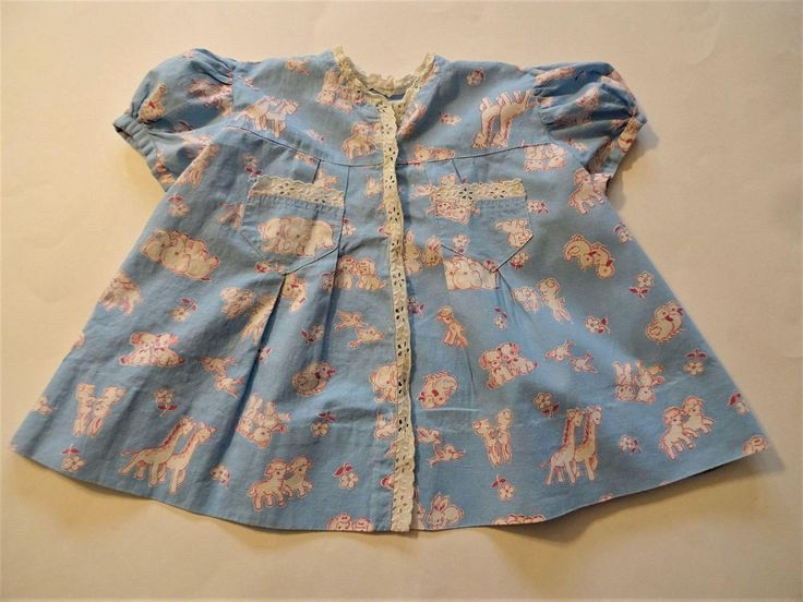 Cotton Feedsack Toddler Dress Vintage 1930s Animal Print Lace  Baby Large Doll  $15  https://www.rubylane.com/item/676693-CLO17-109/Cotton-Feedsack-Toddler-Dress-Vintage-1930s?search=1