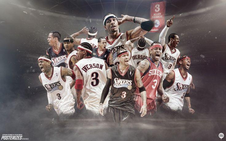 Горячая 40x60 см Аллен Айверсон Sixers Навсегда АЙ слушать Мое Сердце Баскетбол Плакат стены Дома стикера декор плакат