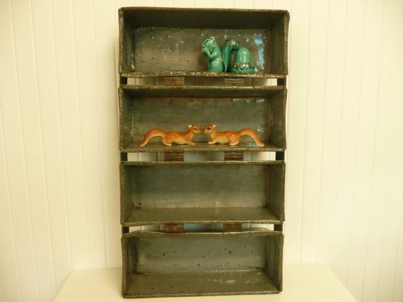 spice rack??? 1945 Enamelware Loaf Pans Set Industrial Gray by NewLifeVintageRVs