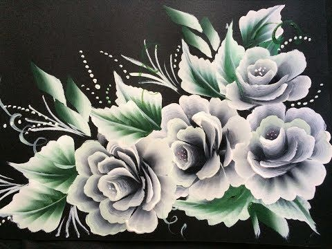 One Stroke Painting- Shell Stroke Simple Decorative Flowers - YouTube