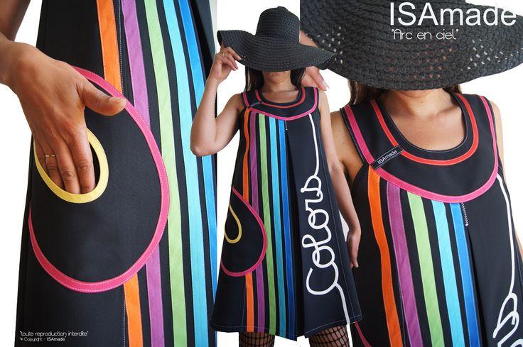 robe trap ze noire multicolore arc en ciel tendance. Black Bedroom Furniture Sets. Home Design Ideas