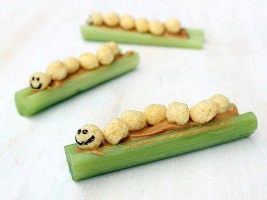Kix caterpillars-on-a-log snack for kids http://www.pinterest.com/emmagangbar/boards/