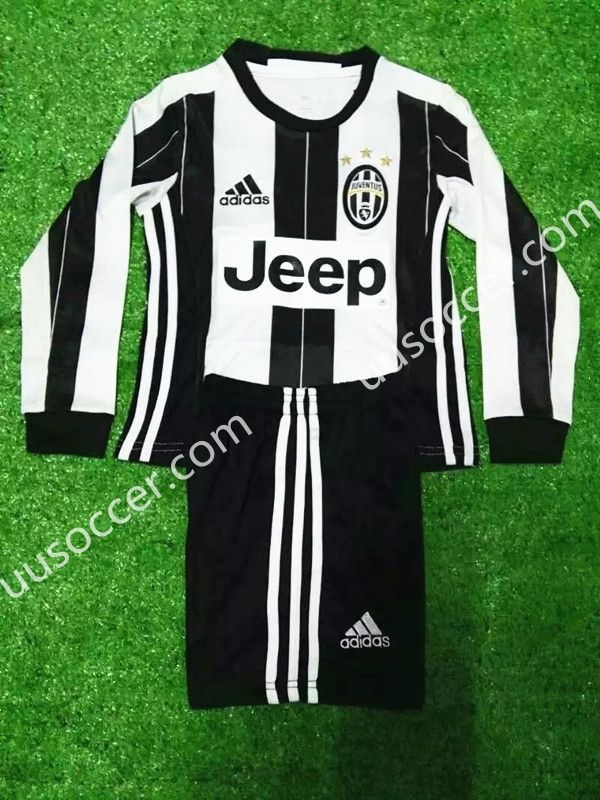 2016-17 Juventus Home White and Black  LS  Kids/Youth Soccer Uniform