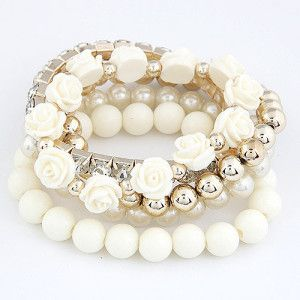Roses flowers and pearls bangle woman bracelet. Summer fashion 2014