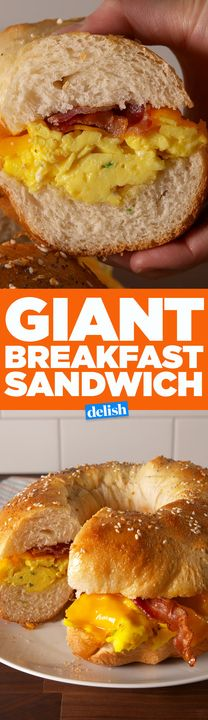 This Giant Breakfast Sandwich is way better than buying a dozen bagels. Get the recipe from Delish.com.