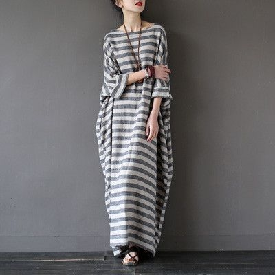 Gender: Women Waistline: Natural Decoration: None Sleeve Style: Batwing Sleeve Pattern Type: Striped Style: Casual Material: Cotton and Linen Season: Summer Dresses Length: Ankle-Length Neckline: Slas