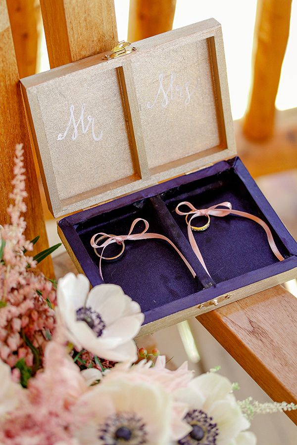 gold mr and mrs ring box