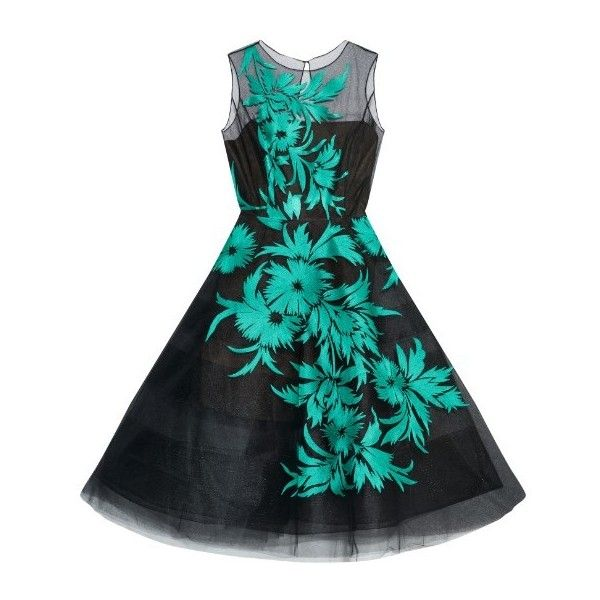 Oscar De La Renta Floral-embroidered tulle dress ($7,400) ❤ liked on Polyvore featuring dresses, green, tulle dress, panel dress, see through dress, sheer panel dress and sheer layered dress