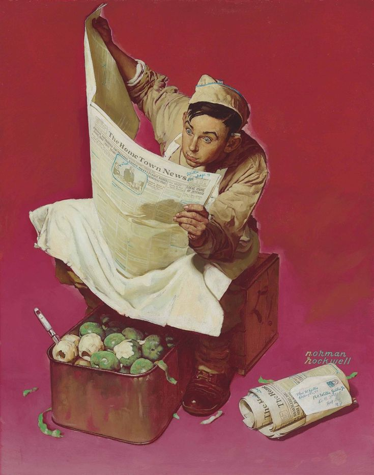 Willie Gillis: Hometown News, oil on canvas. c.1942