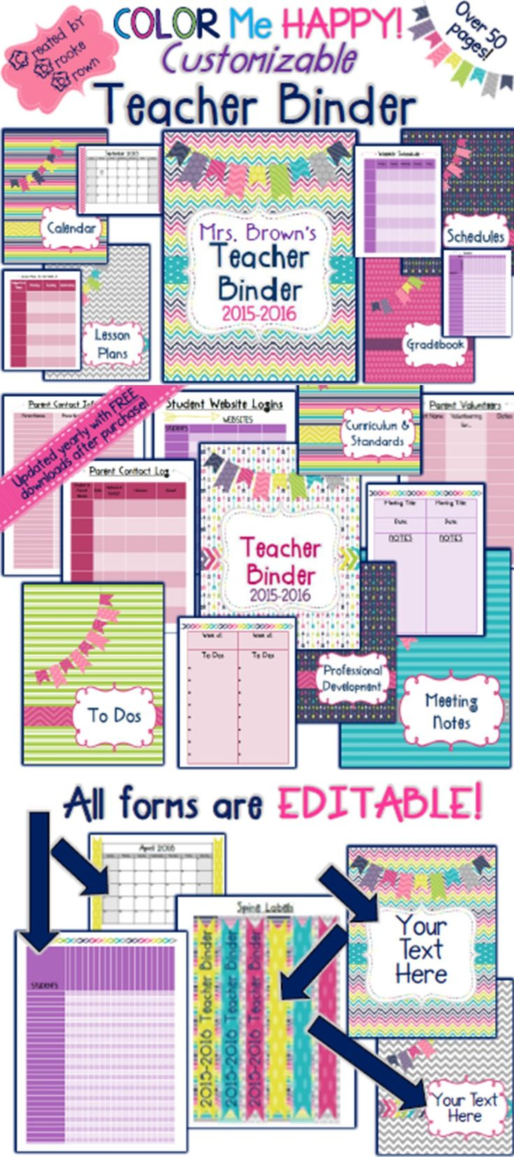 NEW Color Me Happy 2015-2016 CUSTOMIZABLE TEACHER BINDER!