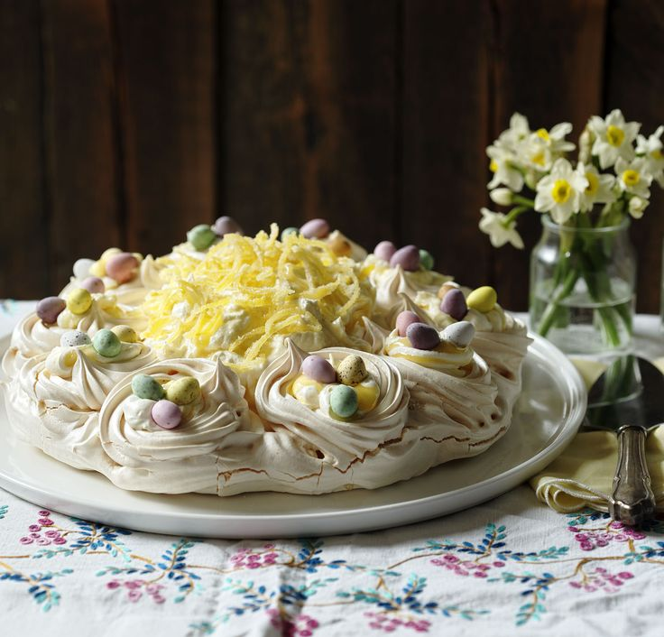 A luscious lemon Easter-themed pavlova from from Mary Berry.
