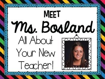 Freebie: This colorful and informational PowerPoint is a fantastic way to introduce yourself to your new students!   I plan to show this to my students on the first day of school!  Edit each slide and tell your students a bit about yourself. When your students know who you are as a person, they are much more interested in what you have to say each day :) I hope you will be able to use this back to school activity with your new group of superstars!