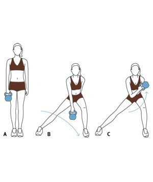 Illustration of lateral lunge and biceps curl kettlebell exercises