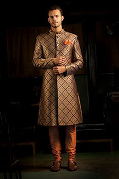 Pure banarasi brocade sherwani highlighted with contrast buttons from #Benzer #Benzerworld #NewCollection #IndianwearForMen #Menswear #IndianMen