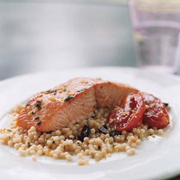 Wild Salmon with Pearl Couscous, Slow-Roasted Tomatoes ...
