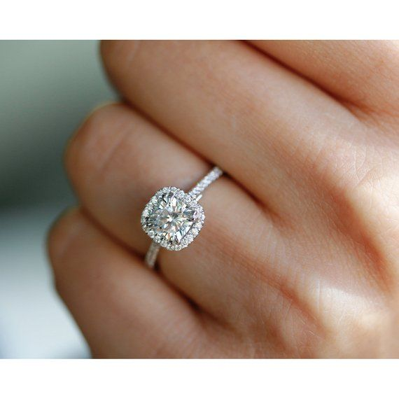 1-1/3 Carats (ct.tw) Cushion Halo Moissanite & Lab Grown Diamond Engagement Ring 14k White Gold, Bes
