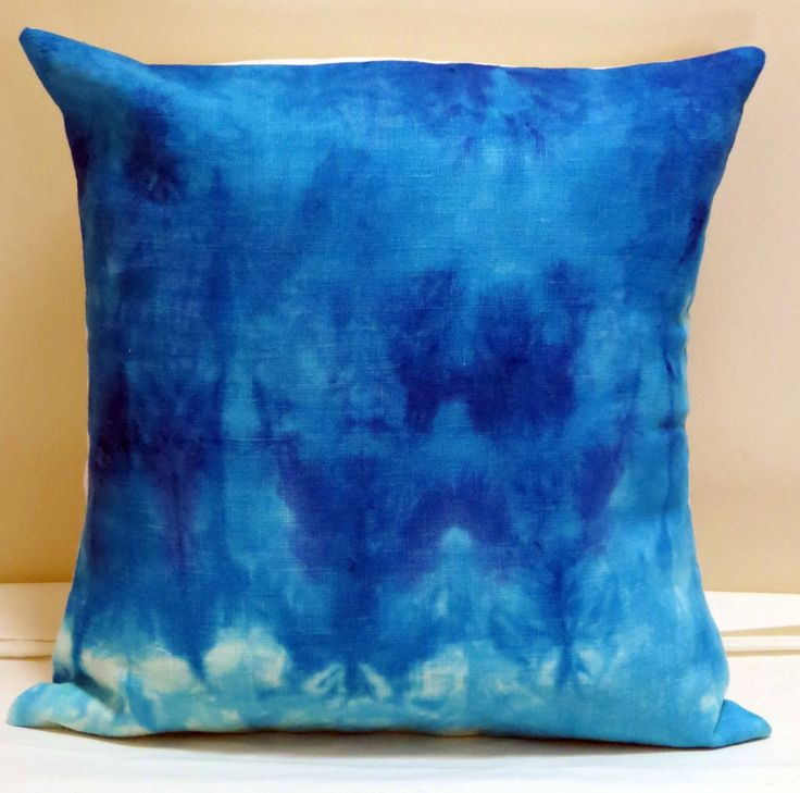 Blue Cushion Cover, Hand Dyed Cushion Cover, OOAK Cushion Cover, Home Decor Linen by HoneyMyrtleStudio on Etsy