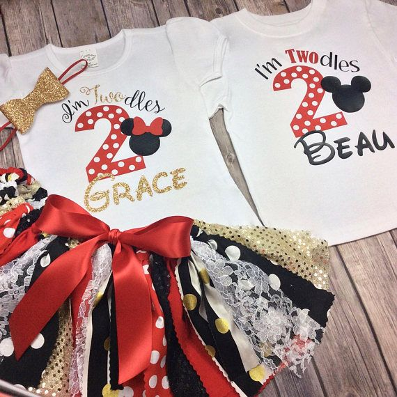 Minnie Mickey Mouse 1st Birthday Bodysuit Shirt Bow Tie Pink Red Custom New 12 M