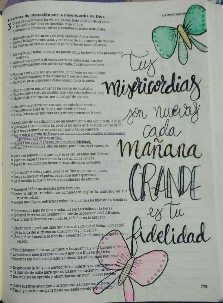 Lamentaciones 3:22y 23. Amo puntar en mi biblia. Tus misericordias son nuevas cada mañana.