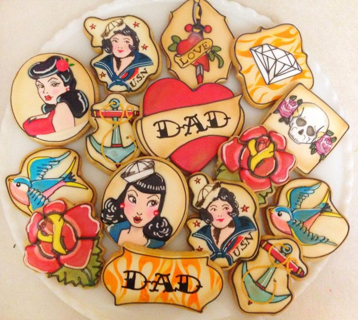 Vintage Tattoo Flash Art Father's Day Cookies   Cookie Connection