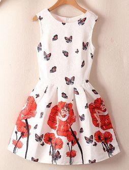 Vestido Vintage Princesa Flores con Mariposas Rojas