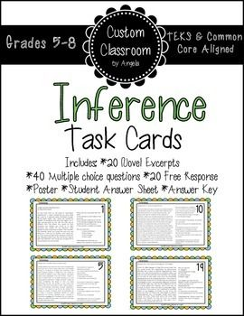 Inference Task Cards:  These task cards are a great way to help your students practice answering inference questions based on a text. Each task card contains an excerpt from a popular youth novel, two multiple choice questions, and one free response.   Includes: *20 Task Cards *20 Novel Excerpts  *40 Multiple Choice Questions *20 Free Response Questions *Student Answer Sheet *Answer Key  Excerpts from the following novels:  Twilight