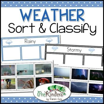 This is a sorting & classifying activity to teach students about different types of weather. This set contains classification cards for rainy, stormy, cloudy, foggy, sunny, windy & snowy weather. This is a great activity for a classroom Science Center for Preschool, Pre-K, Kindergarten, & First Grade.