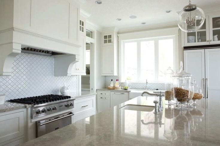 White Arabesque Glass Tile White Marble Kitchen
