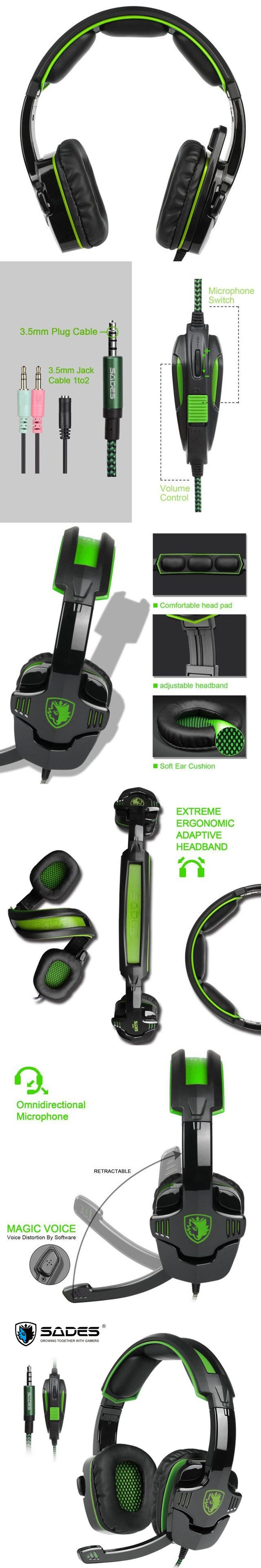 SADES SA930 3.5mm Gaming Headset Computer Headphone with Mic Noise Cancelling for Mac/Xbox One/Cell Phone/PS4/Tablet
