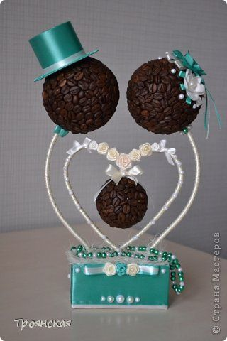 Groom's table idea! Something about this particular picture is a little creepy & off-putting, but it's a great craft idea. It also, could be a baby shower thing with the middle ball. It's definitely very different from the standard bride & groom figurine cake topper. Heck! It doesn't even have to be a cake topper.