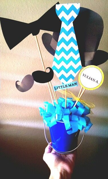 little man centerpiece littleman mustache birthday
