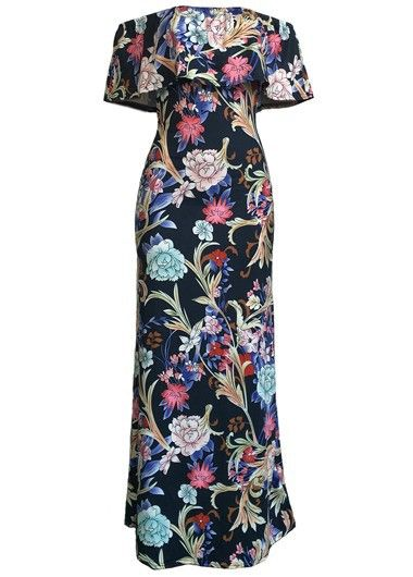 Ruffle Overlay Printed Off the Shoulder Maxi Dress on sale only US$29.69 now, buy cheap Ruffle Overlay Printed Off the Shoulder Maxi Dress at liligal.com